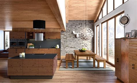 cuisine en bois moderne style chalet