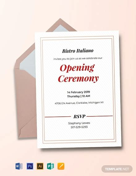 opening ceremony invitation card template word