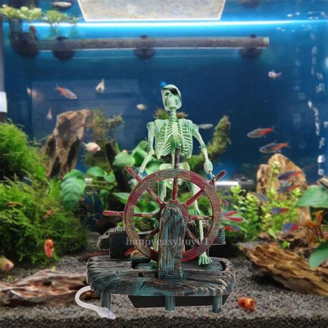 aquarium decor de fond pirate captain aquarium decorations landscape skeleton fish tank ornament decor ebay
