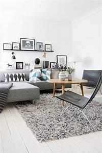 salon scandinave 38 idees inspirations diaporama With tapis de marche avec canapé et fauteuil scandinave