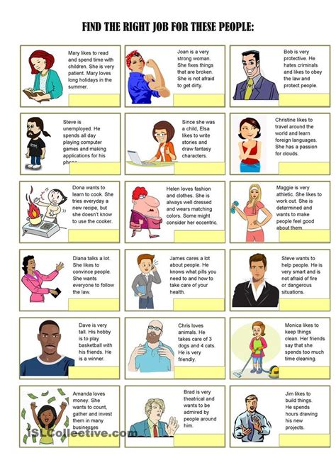 job exercises  vocabulary  pages  images
