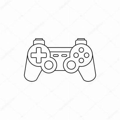 Console Outline Gaming Joystick Icon Drawing Background