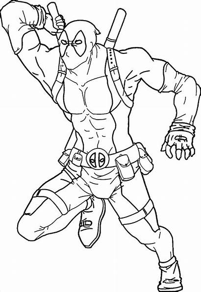 Deadpool Coloring Pages Printable Sword Taking Colouring
