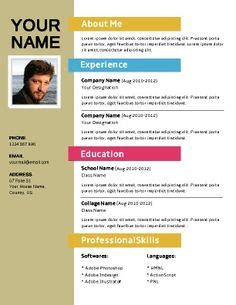Free Colorful Resume Templates by 1000 Images About Resumes And Cvs On Resume Seekers And Templates