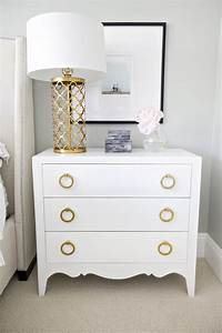 White, U0026, Gold, Nightstand, And, Lamp, Great, Paint, Idea, With, Old, Dresser, Add, New, Hardware