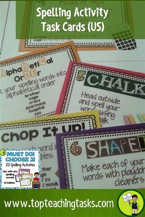 school  spelling activity task cards