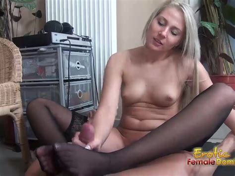 Stockinged Footjob From A Pantyless Blonde Free Porn