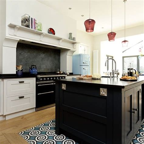 how is a kitchen island open plan kitchen with black island and range cooker