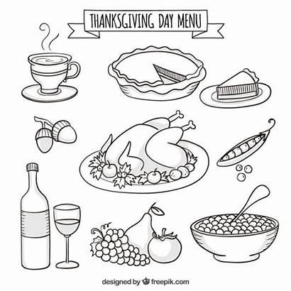 Thanksgiving Dinner Hand Drawing Drawn Menu Vector