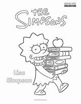 Coloring Simpsons Simpson Lisa sketch template