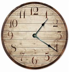 Printed, Wood, Weathered, Looking, Clock, Large, 10, 5, Inch, Wall, Clock