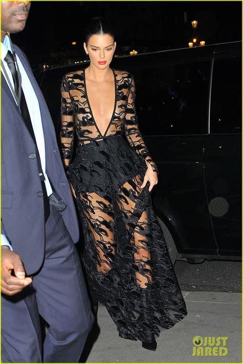 kendall jenner wears  sheer dress   event  paris