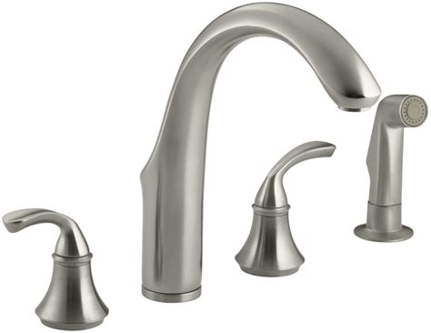 kohler forte kitchen faucet wont swivel kohler k 10445 bn brushed nickel widespread kitchen faucet
