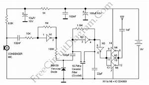 Fm Transmitter Using Logic Gates  Cd4049  Circuit Diagram