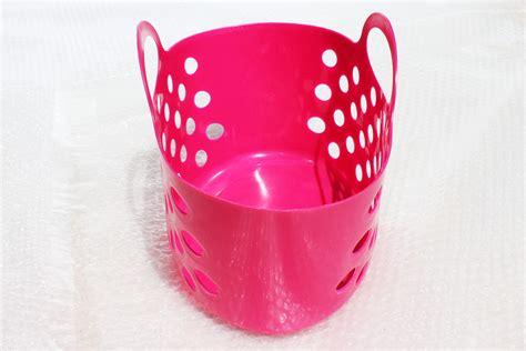 hot pink plastic baskets  dual handle storage baskets