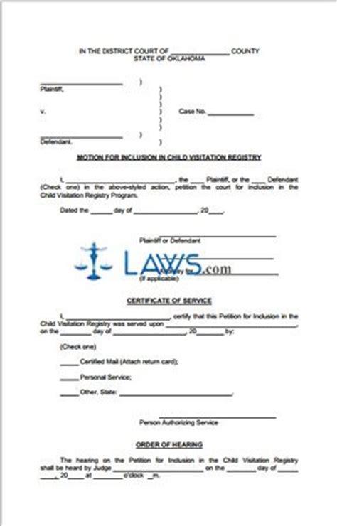 child visitation registry oklahoma forms lawscom