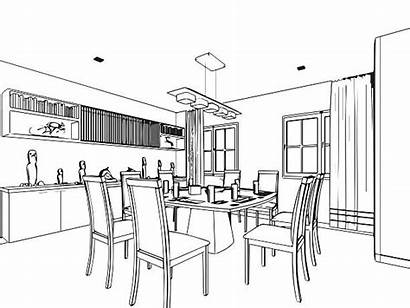 Dining Outline Drawing Sketch Perspective Interior Vector