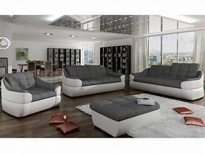 Canape Gris Et Blanc : canap en tissu et simili gris blanc ou gris noir farez ~ Melissatoandfro.com Idées de Décoration