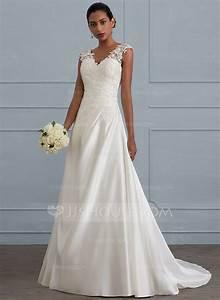 robe marquise col v balayage pinceau train satine robe de With robe de mariée jjshouse