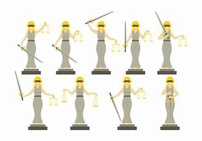 Justice Lady Flat Vector Illustration Clipart Vectors