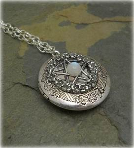 Victorian Pentacle Filigree Locket necklace with Moonstone ...