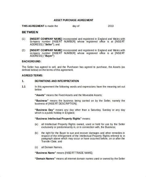 purchase  sale agreement templates  ms word