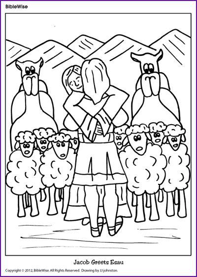 coloring jacob greets esau korner biblewise 601 | b4e774fa67158b3e0951db20f17dc921