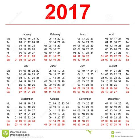 calendar template vertical weeks day monday stock vector