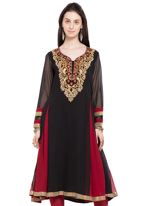 black faux georgette readymade embroidered georgette kurta in black and tnc884