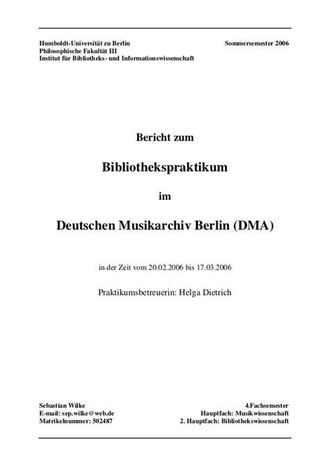 praktikumsbericht deutsches musikarchiv