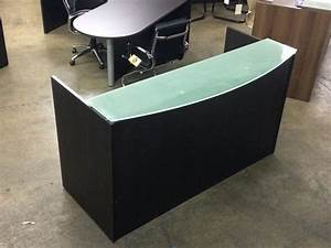 Office 4 Sale : espresso front reception desk with frosted glass counter ~ Pilothousefishingboats.com Haus und Dekorationen