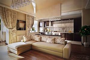 neutral living room and kitchen design kitchentoday With living room and kitchen design
