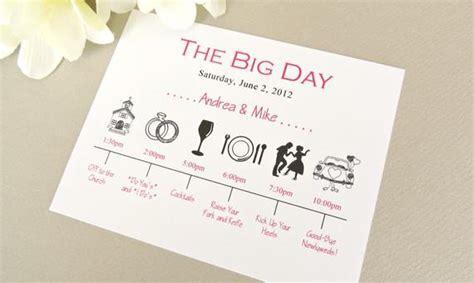 wedding day timeline schedule    onetenstationery