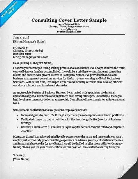 consulting cover letter sample writing tips resume
