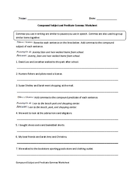 commas worksheets compound subject  predicate commas