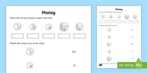 new money matching worksheet money euro cent coins shopping