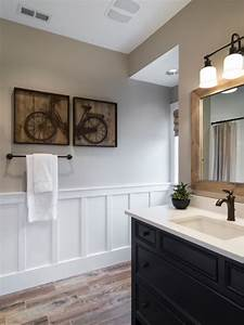 Beautiful bathroom wood tile floors black vanity bronze for Kitchen colors with white cabinets with tandem bike wall art