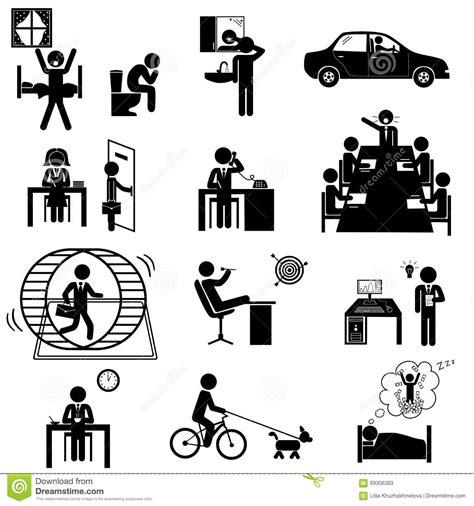 les affaires de bureau collent des icônes illustration de