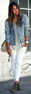 11 lovely spring outfits with a denim jacket - stylishwomenoutfits.com