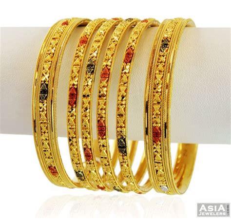 designer 22k gold 3 tone bangle set 4 pcs asba58849 22k gold bangles churis set set of 4