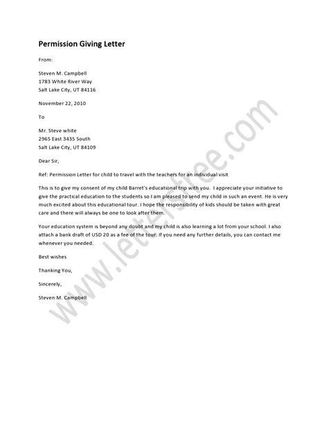 permission giving letter  written
