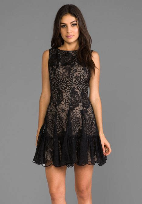 black floral embroidered lace sui floral embroidered mini dress in black dresses