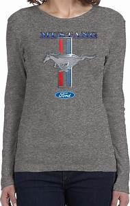 Buy Cool Shirts Ladies Ford Mustang T-shirt Stripe Long Sleeve | eBay