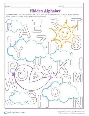 hidden alphabet worksheet education