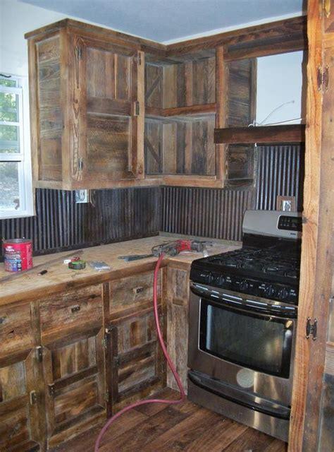 built  barn wood cabinets    tin