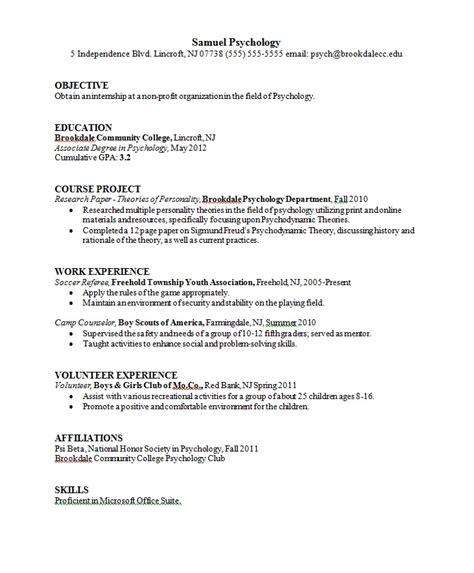 resume for psychology fresher psychology graduate resume sle