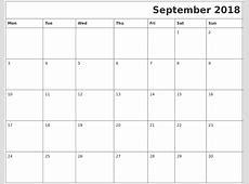 September 2018 Download Calendar