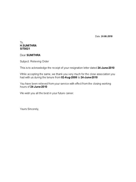 format  relieving letter