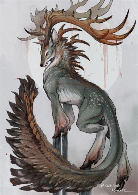 monster art animal deer mythical creature beautific art