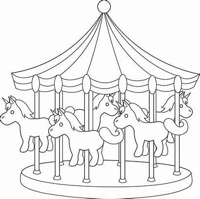Carousel Line Coloring Carnival Clipart Pages Park